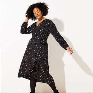 NWT LOFT Plus Polka Dot Wrap Midi Dress